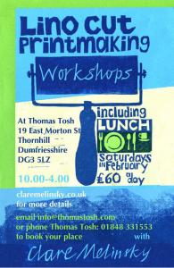 Lino cut workshops in Thornhill February 2015